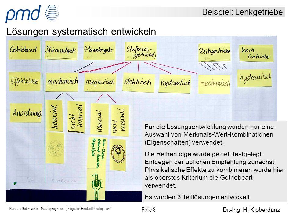 """Nur zum Gebrauch im Masterprogramm: """"Integrated Product Development"""" Folie 8 Dr.-Ing. H. Kloberdanz Beispiel: Lenkgetriebe Lösungen systematisch entwi"""