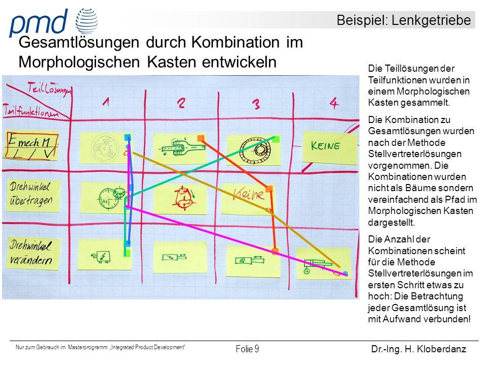 """Nur zum Gebrauch im Masterprogramm: """"Integrated Product Development"""" Folie 9 Dr.-Ing. H. Kloberdanz Beispiel: Lenkgetriebe Gesamtlösungen durch Kombin"""