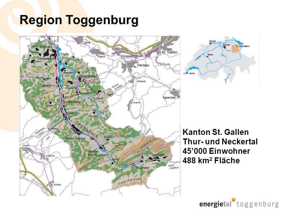 Energietal Toggenburg 12 Gemeinden 6 Energiestädte davon 1 Energiestadt – Region mit 3 Gemeinden 12 Energiekonzepte 1 Förderverein Energieregion Neckertal