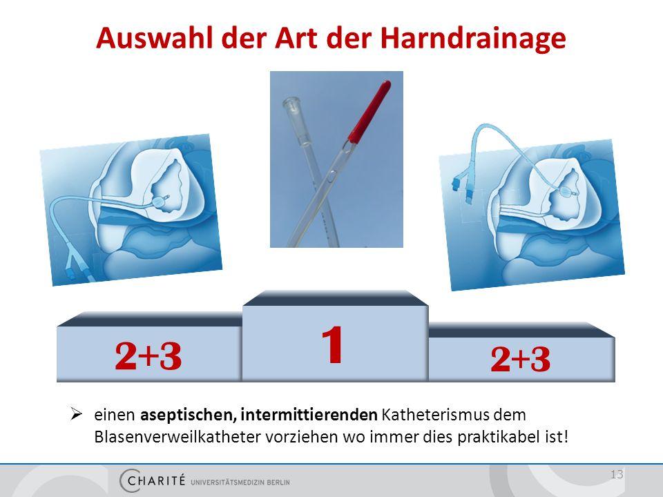 Auswahl der Art der Harndrainage 13  einen aseptischen, intermittierenden Katheterismus dem Blasenverweilkatheter vorziehen wo immer dies praktikabel