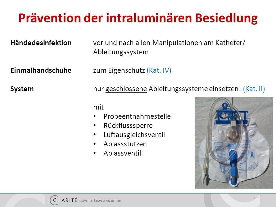 Prävention der intraluminären Besiedlung 23 Händedesinfektionvor und nach allen Manipulationen am Katheter/ Ableitungssystem Einmalhandschuhezum Eigen