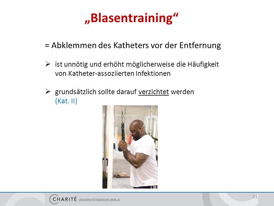 """""""Blasentraining"""" 31 = Abklemmen des Katheters vor der Entfernung  ist unnötig und erhöht möglicherweise die Häufigkeit von Katheter-assoziierten Infe"""