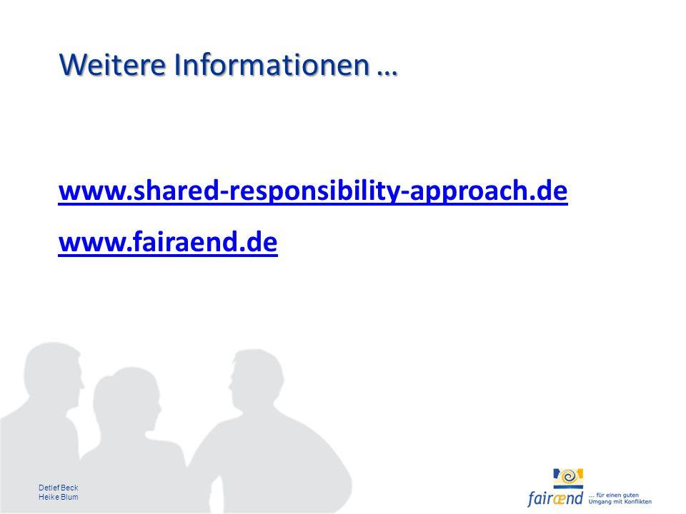 Detlef Beck Heike Blum Weitere Informationen … www.shared-responsibility-approach.de www.fairaend.de