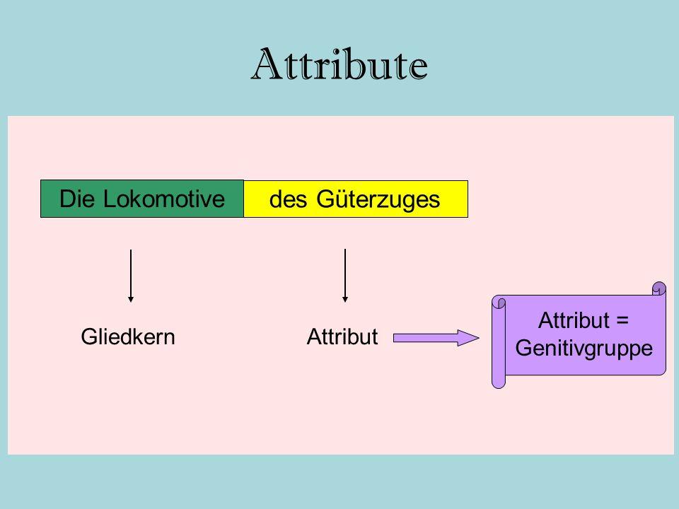 Attribute Die Lokomotive des Güterzuges AttributGliedkern Attribut = Genitivgruppe