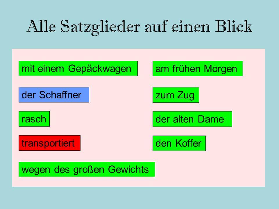 Satzglieder zusammenbauen, erfragen und bestimmen (Satzteil 1) Subjekt (S)Der Schaffner → wer?/was.