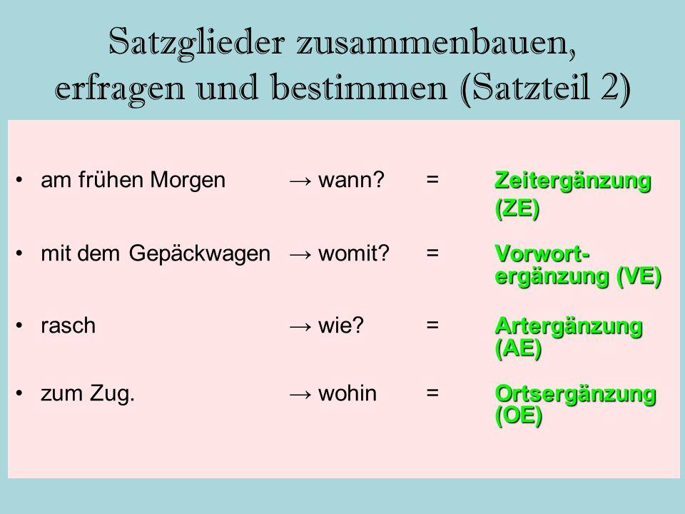 Satzglieder zusammenbauen, erfragen und bestimmen (Satzteil 2) Zeitergänzungam frühen Morgen→ wann?=Zeitergänzung(ZE) Vorwort- ergänzung (VE)mit dem G