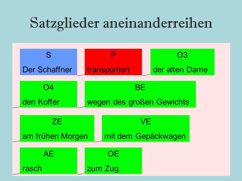 Satzglieder aneinanderreihen S Der Schaffner P transportiert VE mit dem Gepäckwagen O4 den Koffer O3 der alten Dame BE wegen des großen Gewichts OE zu