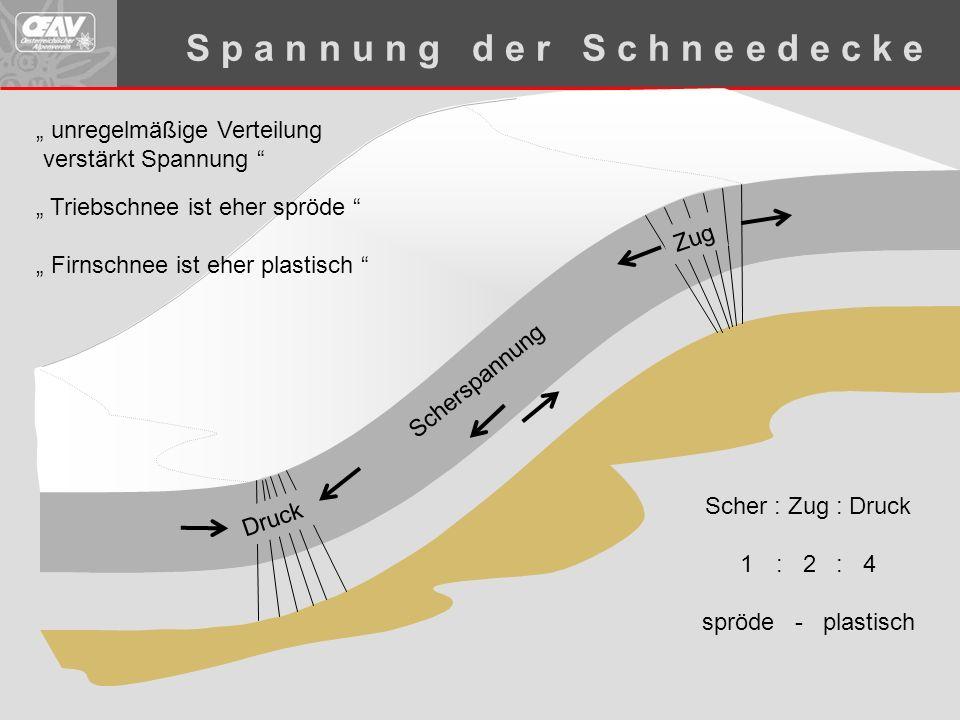 """Scherspannung Scher : Zug : Druck 1: 2 : 4 spröde - plastisch Druck Zug S p a n n u n g d e r S c h n e e d e c k e """" unregelmäßige Verteilung verstär"""