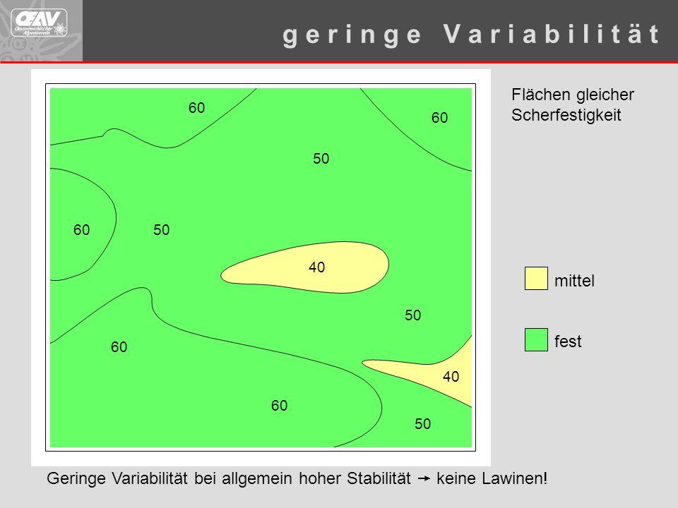 Flächen gleicher Scherfestigkeit 40 6050 60 50 40 50 60 mittel fest g e r i n g e V a r i a b i l i t ä t 60 Geringe Variabilität bei allgemein hoher Stabilität  keine Lawinen!