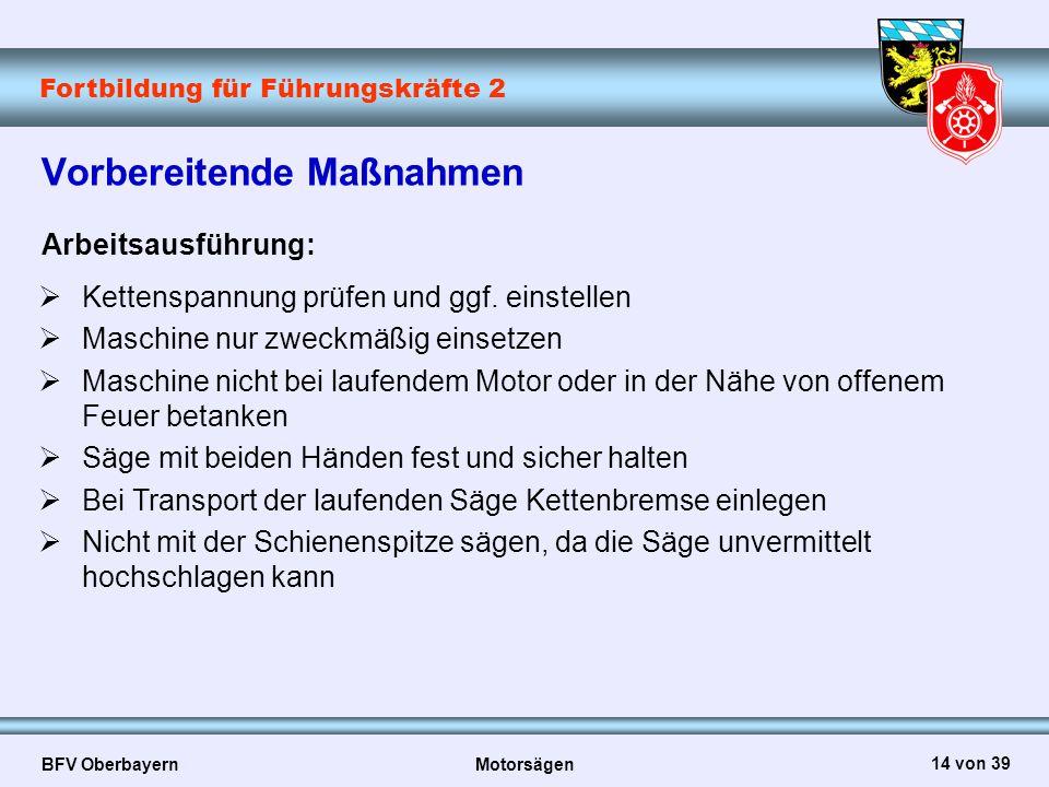 Fortbildung für Führungskräfte 2 BFV Oberbayern Motorsägen 14 von 39 Vorbereitende Maßnahmen Arbeitsausführung:  Kettenspannung prüfen und ggf. einst