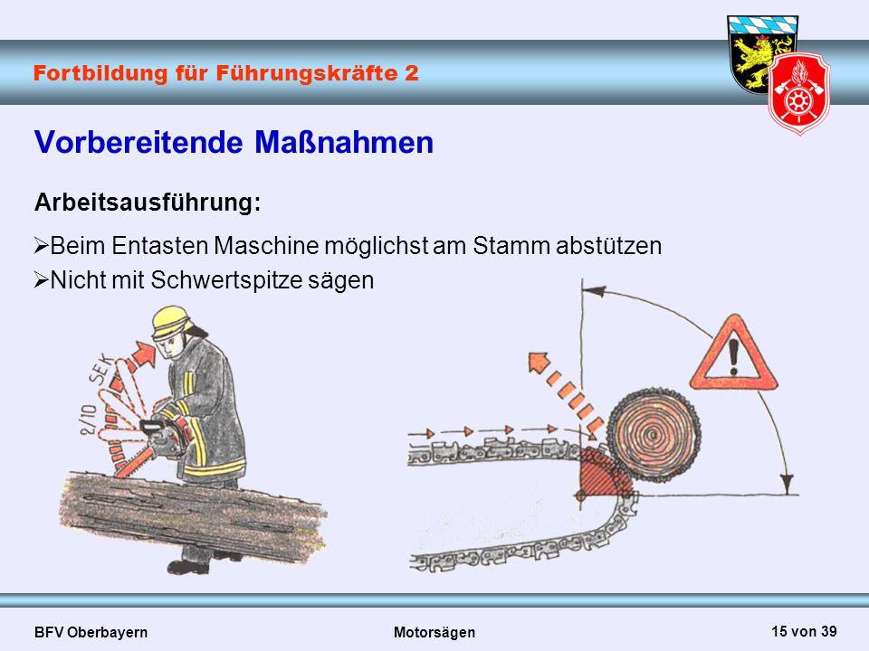 Fortbildung für Führungskräfte 2 BFV Oberbayern Motorsägen 15 von 39 Vorbereitende Maßnahmen Arbeitsausführung:  Beim Entasten Maschine möglichst am