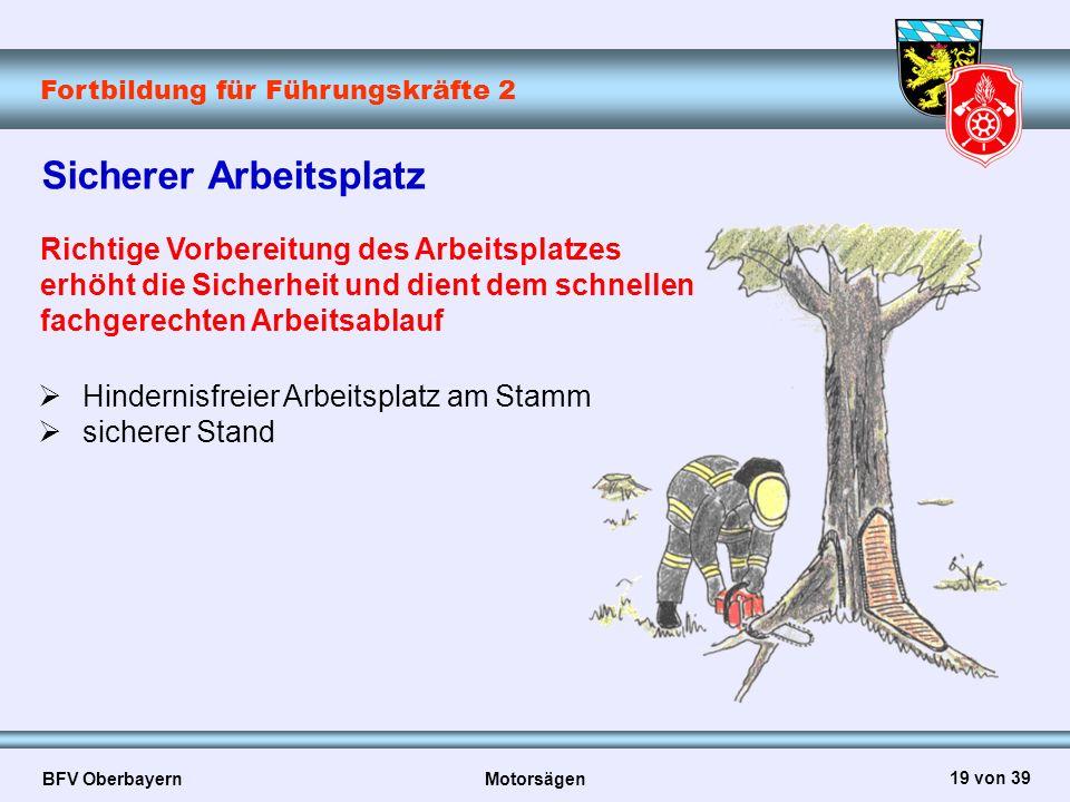 Fortbildung für Führungskräfte 2 BFV Oberbayern Motorsägen 19 von 39 Sicherer Arbeitsplatz Richtige Vorbereitung des Arbeitsplatzes erhöht die Sicherh