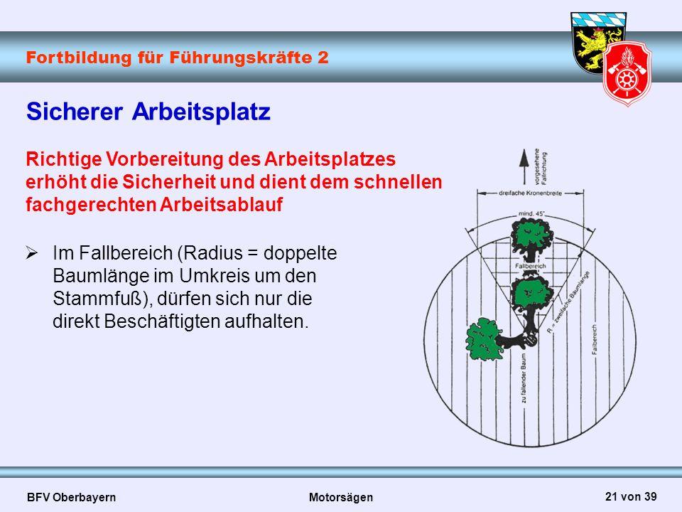 Fortbildung für Führungskräfte 2 BFV Oberbayern Motorsägen 21 von 39 Sicherer Arbeitsplatz Richtige Vorbereitung des Arbeitsplatzes erhöht die Sicherh