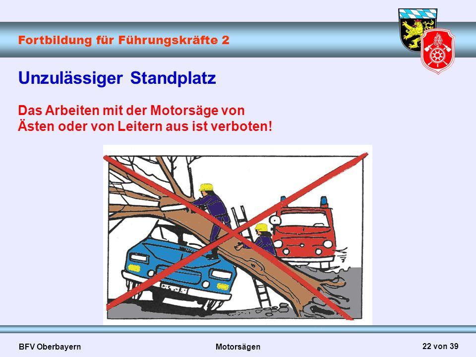 Fortbildung für Führungskräfte 2 BFV Oberbayern Motorsägen 22 von 39 Unzulässiger Standplatz Das Arbeiten mit der Motorsäge von Ästen oder von Leitern