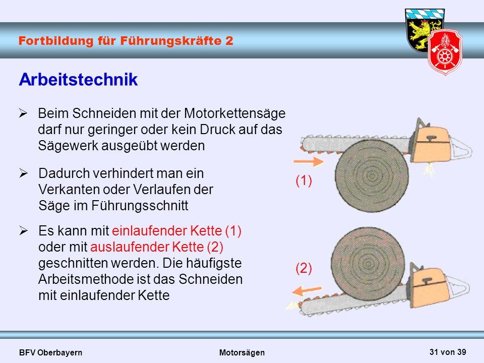 Fortbildung für Führungskräfte 2 BFV Oberbayern Motorsägen 31 von 39 Arbeitstechnik  Beim Schneiden mit der Motorkettensäge darf nur geringer oder ke