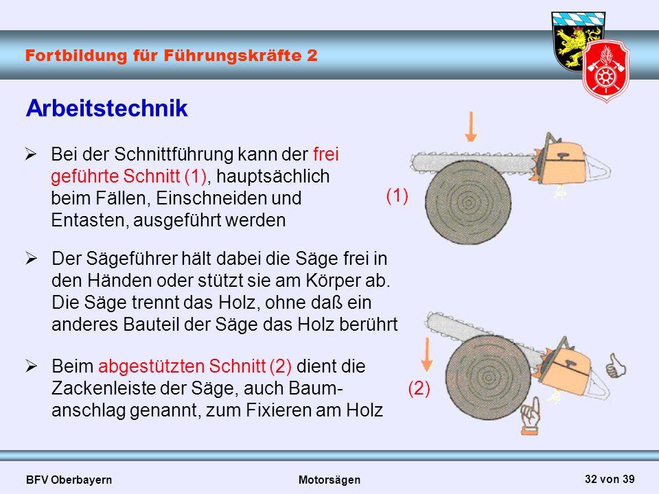 Fortbildung für Führungskräfte 2 BFV Oberbayern Motorsägen 32 von 39 Arbeitstechnik  Bei der Schnittführung kann der frei geführte Schnitt (1), haupt