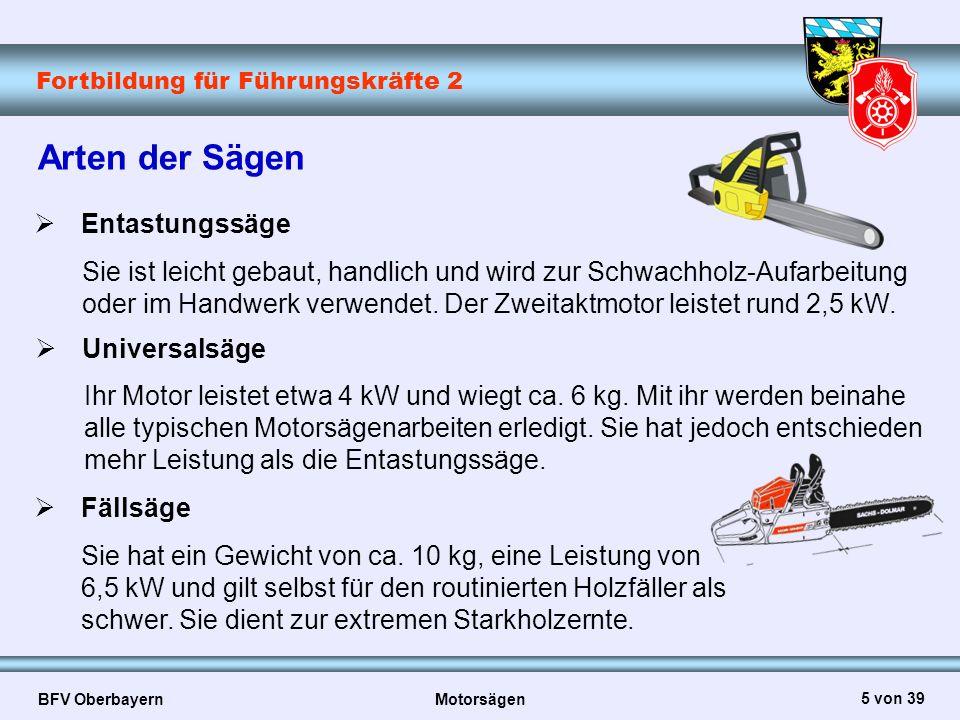 Fortbildung für Führungskräfte 2 BFV Oberbayern Motorsägen 6 von 39 Die weltweit verbreitete Halbmeißelkette kennzeichnet sich durch ein abgerundetes Zahndach sowie eine bauchförmige Zahnbrust aus.