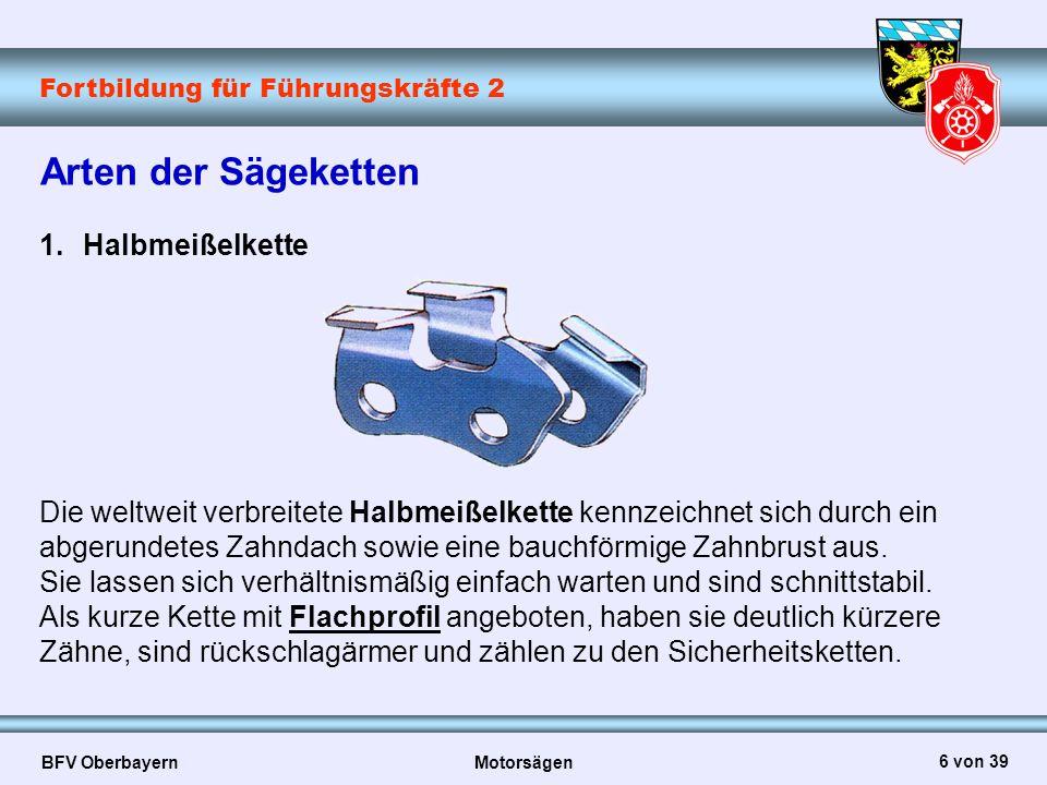 Fortbildung für Führungskräfte 2 BFV Oberbayern Motorsägen 6 von 39 Die weltweit verbreitete Halbmeißelkette kennzeichnet sich durch ein abgerundetes