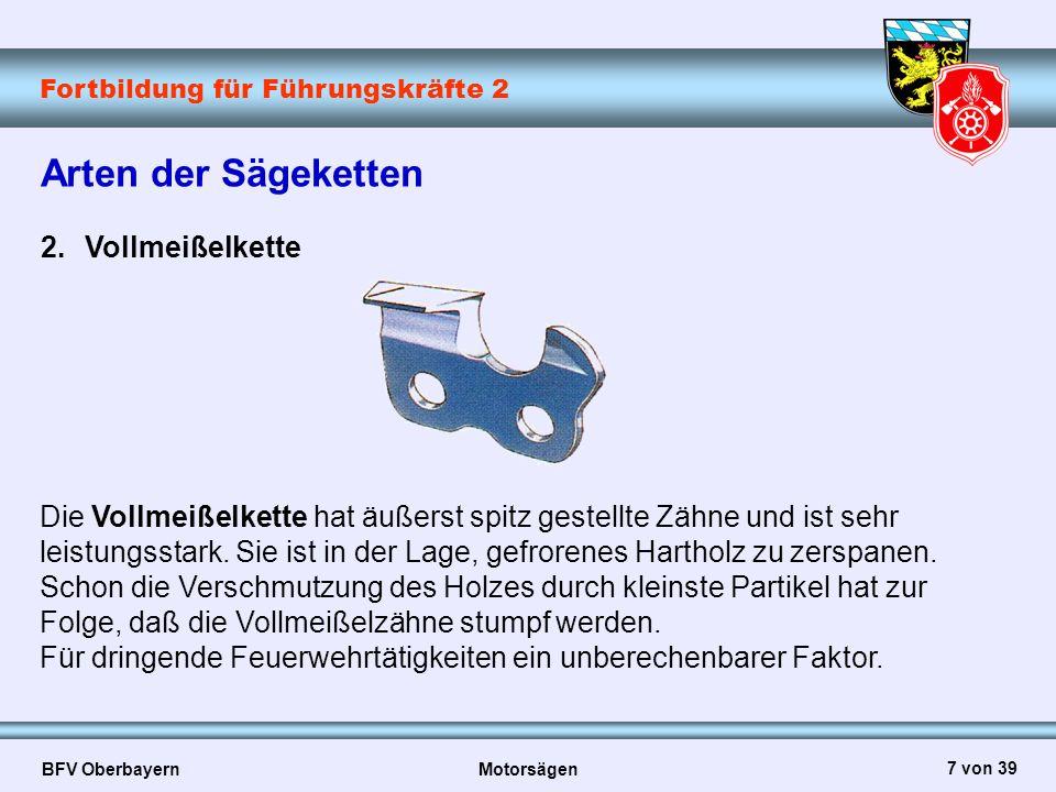 Fortbildung für Führungskräfte 2 BFV Oberbayern Motorsägen 7 von 39 Die Vollmeißelkette hat äußerst spitz gestellte Zähne und ist sehr leistungsstark.