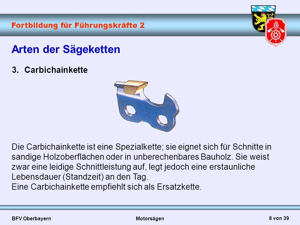 Fortbildung für Führungskräfte 2 BFV Oberbayern Motorsägen 9 von 39 Vorbereitende Maßnahmen Arbeitsausführung:  Wird Kraftstoff nachgefüllt, sind Zündquellen zu vermeiden (Feuer, offenes Licht, laufender Motor)  Sicherheitstanksysteme beseitigen die Gefahr der schlagartigen Entzündung übergelaufenen Kraftstoffs