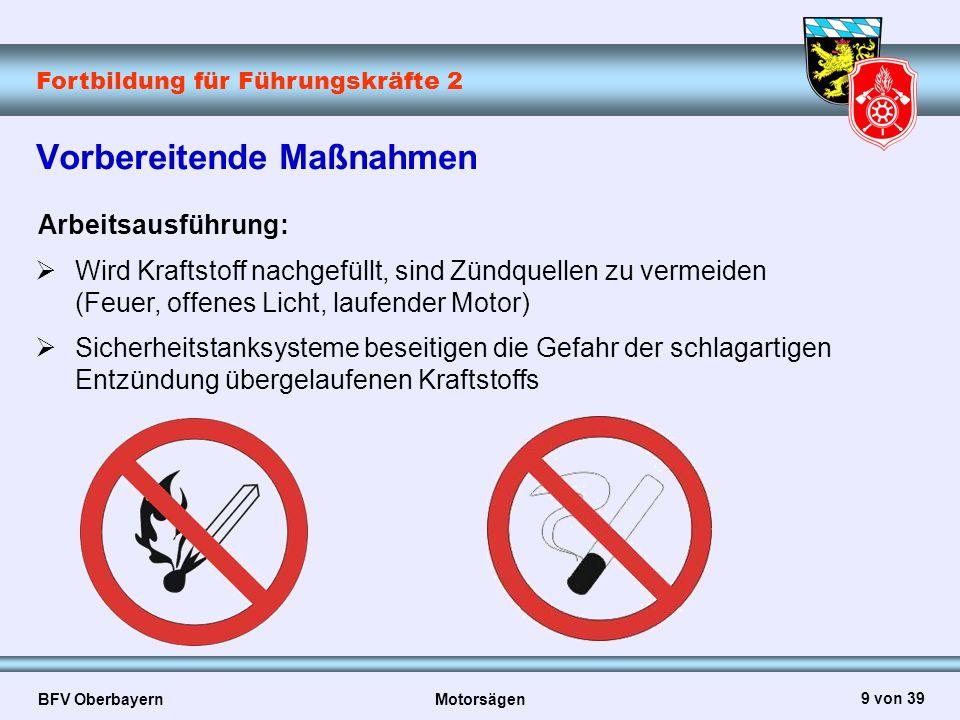 Fortbildung für Führungskräfte 2 BFV Oberbayern Motorsägen 20 von 39 Sicherer Arbeitsplatz Richtige Vorbereitung des Arbeitsplatzes erhöht die Sicherheit und dient dem schnellen fachgerechten Arbeitsablauf  Hindernisfreie Rückzugswege (Fluchtweg)  Im Arbeitsbereich der Motorsäge, dessen Durchmesser 2m beträgt, steht nur der Sägeführer