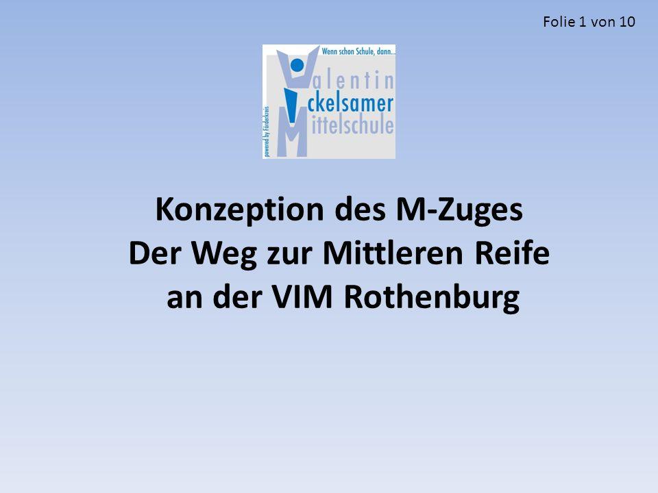 Konzeption des M-Zuges Der Weg zur Mittleren Reife an der VIM Rothenburg Folie 1 von 10
