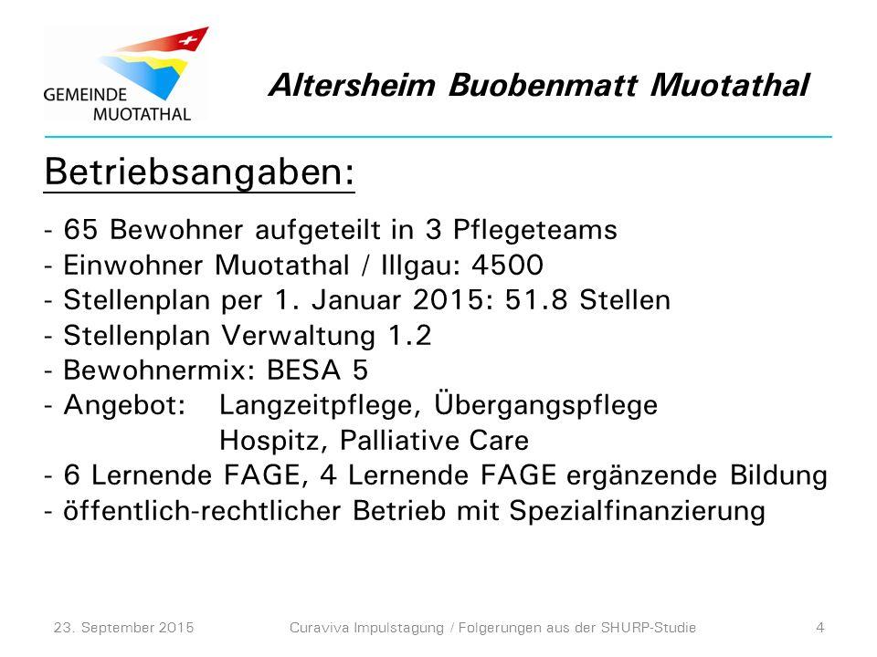 Betriebsangaben: - 65 Bewohner aufgeteilt in 3 Pflegeteams - Einwohner Muotathal / Illgau: 4500 - Stellenplan per 1.