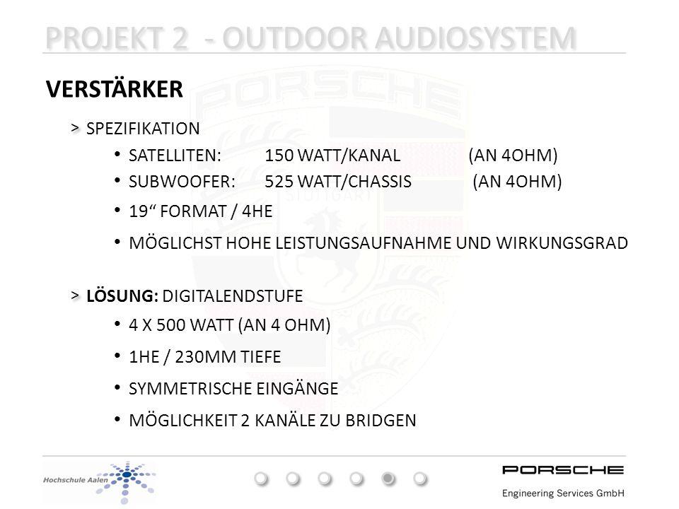 PROJEKT 2 - OUTDOOR AUDIOSYSTEM VERSTÄRKER SPEZIFIKATION > > LÖSUNG: DIGITALENDSTUFE > > SATELLITEN:150 WATT/KANAL (AN 4OHM) SUBWOOFER:525 WATT/CHASSI
