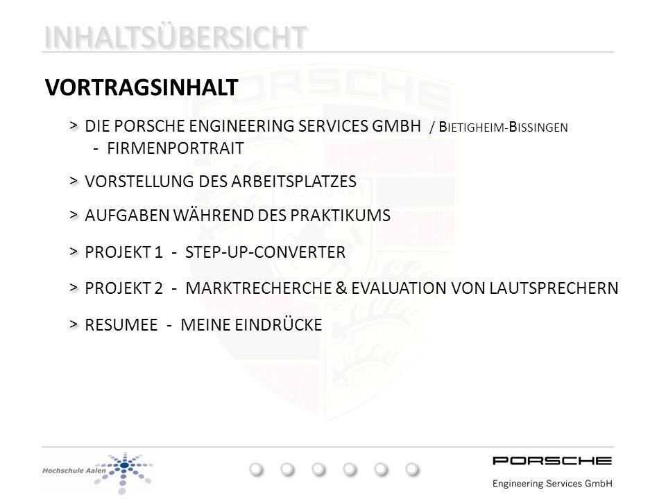 INHALTSÜBERSICHT VORTRAGSINHALT DIE PORSCHE ENGINEERING SERVICES GMBH / B IETIGHEIM- B ISSINGEN - FIRMENPORTRAIT > > VORSTELLUNG DES ARBEITSPLATZES >