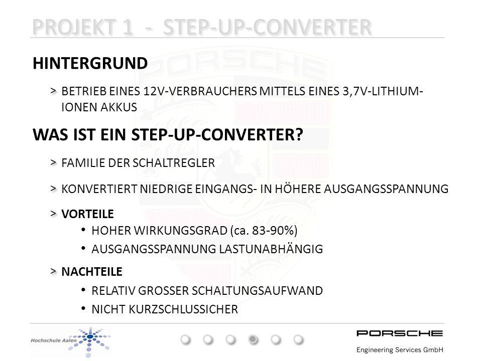 PROJEKT 1 - STEP-UP-CONVERTER HINTERGRUND BETRIEB EINES 12V-VERBRAUCHERS MITTELS EINES 3,7V-LITHIUM- IONEN AKKUS > > FAMILIE DER SCHALTREGLER > > KONV