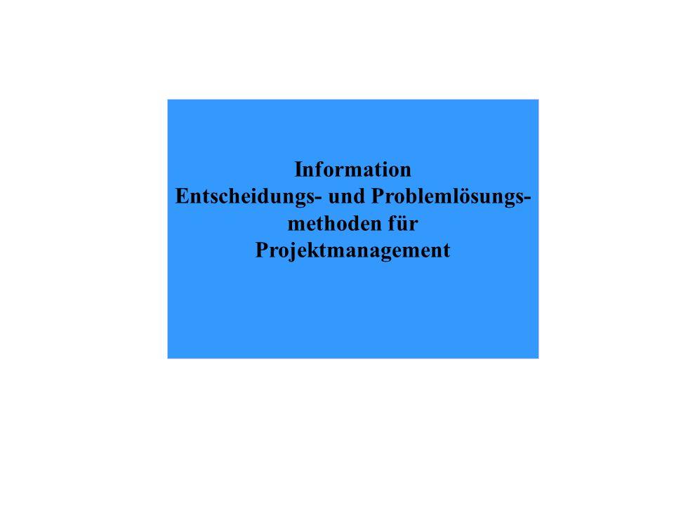 Information Entscheidungs- und Problemlösungs- methoden für Projektmanagement