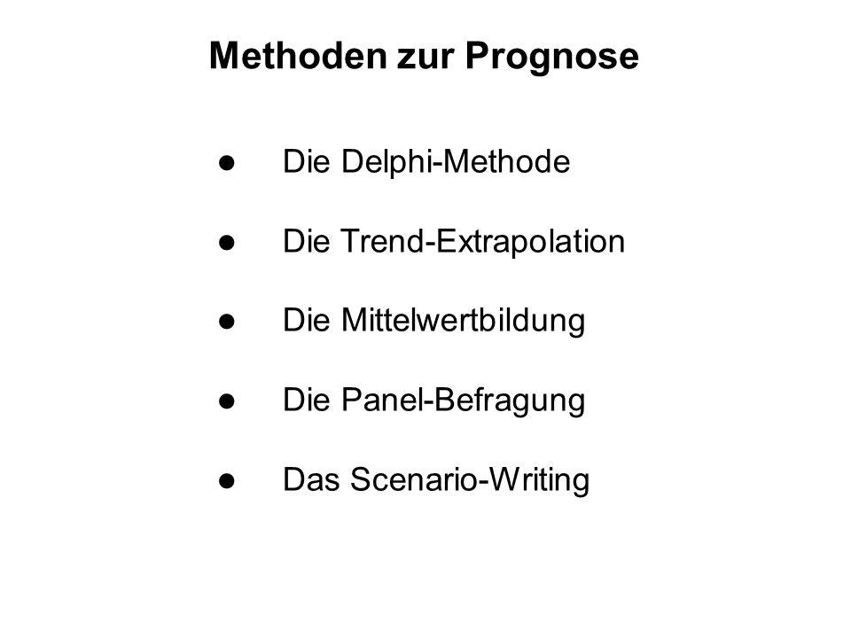 Methoden zur Prognose l Die Delphi-Methode l Die Trend-Extrapolation l Die Mittelwertbildung l Die Panel-Befragung l Das Scenario-Writing