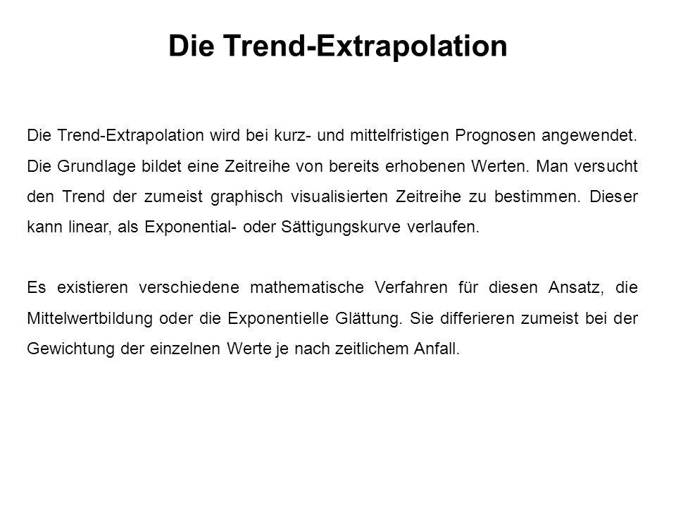 Die Trend-Extrapolation Die Trend-Extrapolation wird bei kurz- und mittelfristigen Prognosen angewendet.