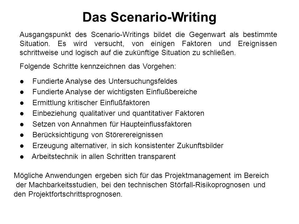 Das Scenario-Writing Ausgangspunkt des Scenario-Writings bildet die Gegenwart als bestimmte Situation.