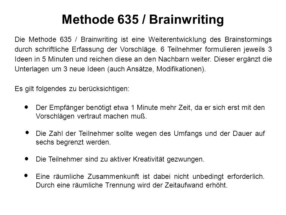 Methode 635 / Brainwriting Die Methode 635 / Brainwriting ist eine Weiterentwicklung des Brainstormings durch schriftliche Erfassung der Vorschläge.