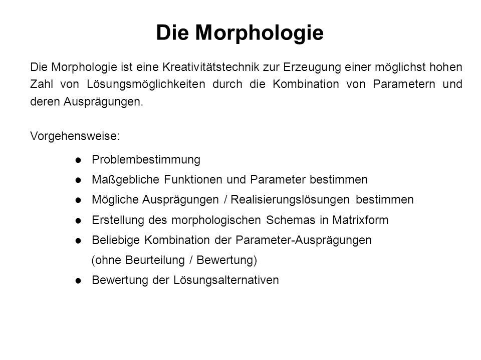 Die Morphologie Die Morphologie ist eine Kreativitätstechnik zur Erzeugung einer möglichst hohen Zahl von Lösungsmöglichkeiten durch die Kombination von Parametern und deren Ausprägungen.