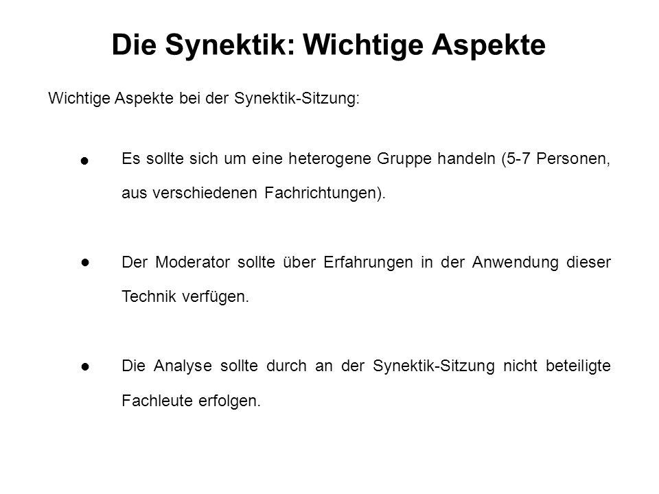 Die Synektik: Wichtige Aspekte Wichtige Aspekte bei der Synektik-Sitzung: Es sollte sich um eine heterogene Gruppe handeln (5-7 Personen, aus verschiedenen Fachrichtungen).