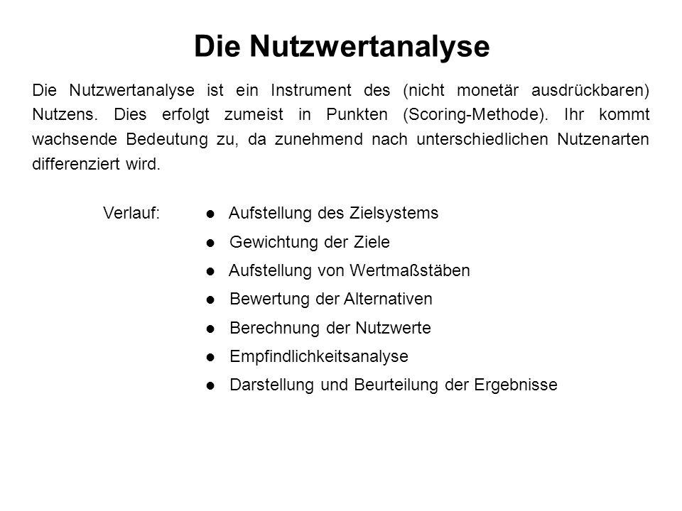 Die Nutzwertanalyse Die Nutzwertanalyse ist ein Instrument des (nicht monetär ausdrückbaren) Nutzens.