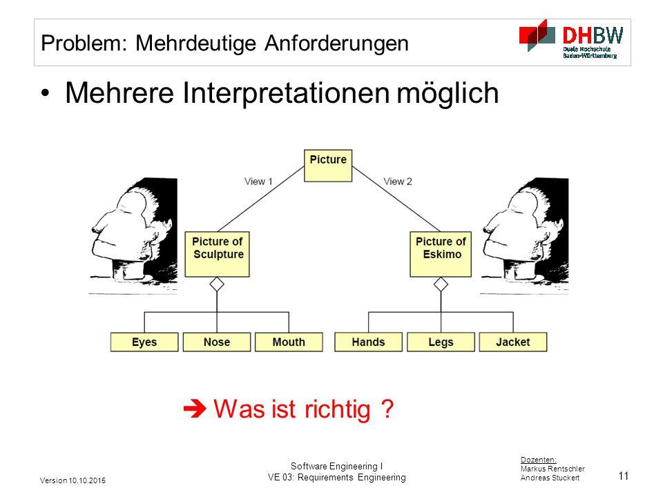 11 Dozenten: Markus Rentschler Andreas Stuckert Version 10.10.2015 Software Engineering I VE 03: Requirements Engineering Problem: Mehrdeutige Anforde