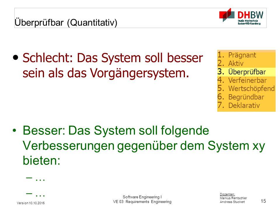 15 Dozenten: Markus Rentschler Andreas Stuckert Version 10.10.2015 Software Engineering I VE 03: Requirements Engineering Überprüfbar (Quantitativ) Be
