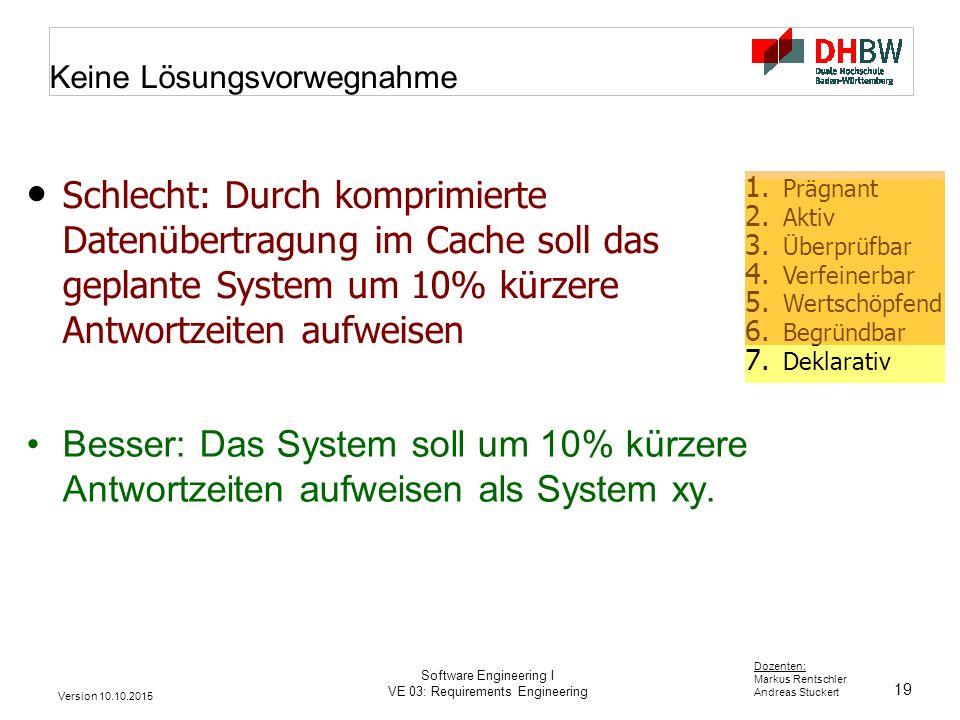 19 Dozenten: Markus Rentschler Andreas Stuckert Version 10.10.2015 Software Engineering I VE 03: Requirements Engineering Keine Lösungsvorwegnahme Bes