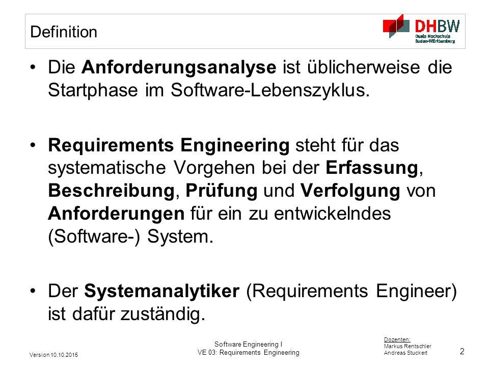 2 Dozenten: Markus Rentschler Andreas Stuckert Version 10.10.2015 Software Engineering I VE 03: Requirements Engineering Definition Die Anforderungsan