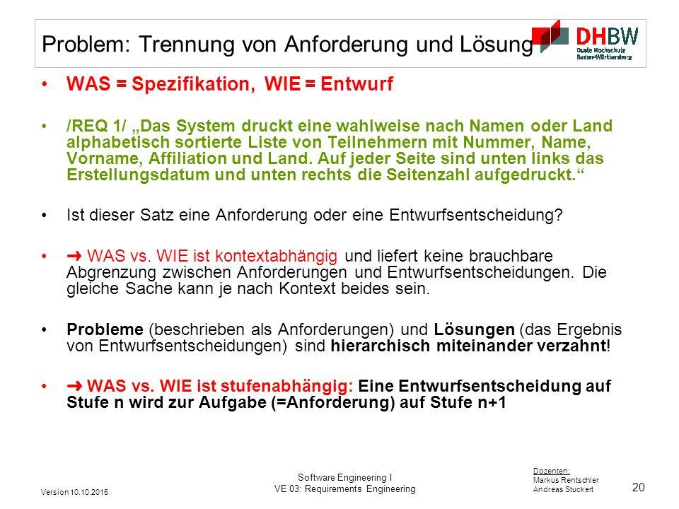 20 Dozenten: Markus Rentschler Andreas Stuckert Version 10.10.2015 Software Engineering I VE 03: Requirements Engineering Problem: Trennung von Anford