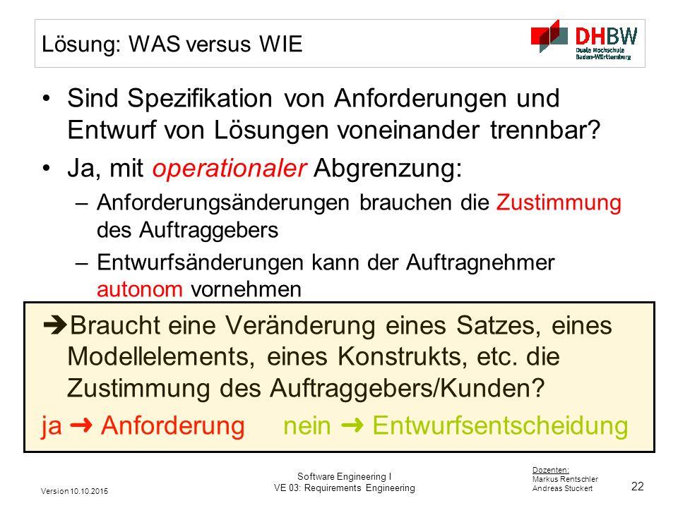 22 Dozenten: Markus Rentschler Andreas Stuckert Version 10.10.2015 Software Engineering I VE 03: Requirements Engineering Lösung: WAS versus WIE Sind