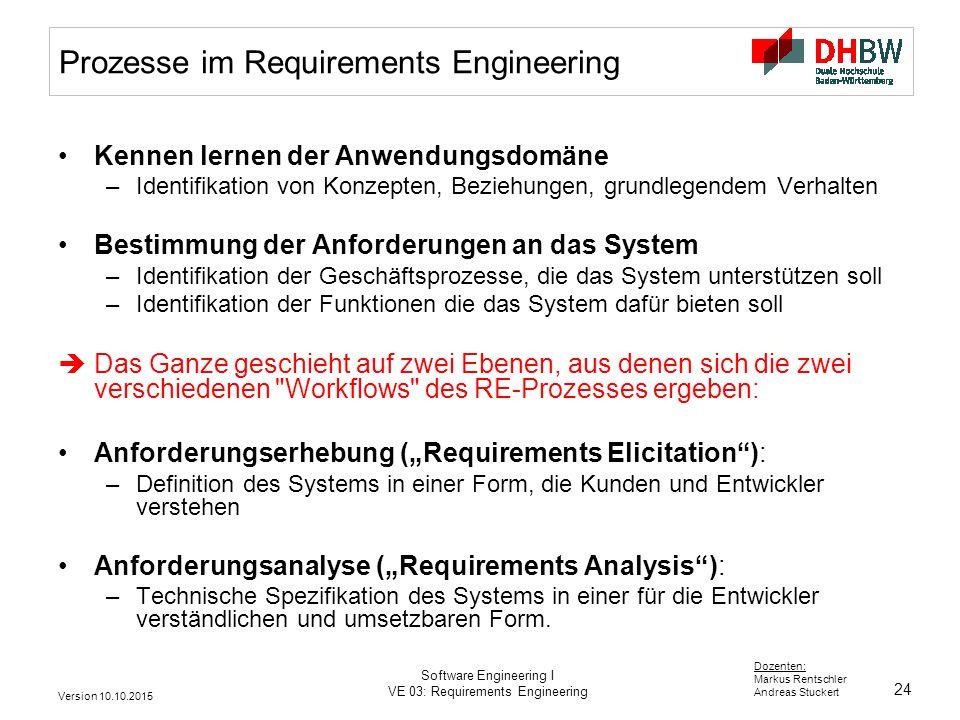24 Dozenten: Markus Rentschler Andreas Stuckert Version 10.10.2015 Software Engineering I VE 03: Requirements Engineering Prozesse im Requirements Eng