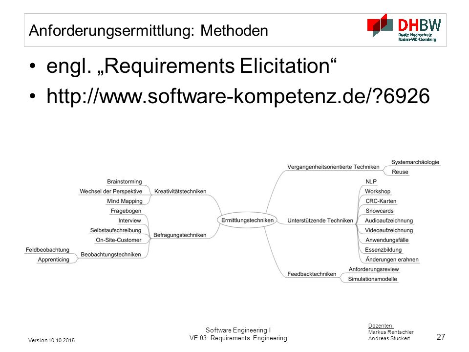 27 Dozenten: Markus Rentschler Andreas Stuckert Version 10.10.2015 Software Engineering I VE 03: Requirements Engineering Anforderungsermittlung: Methoden engl.