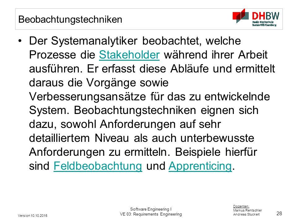 28 Dozenten: Markus Rentschler Andreas Stuckert Version 10.10.2015 Software Engineering I VE 03: Requirements Engineering Beobachtungstechniken Der Sy