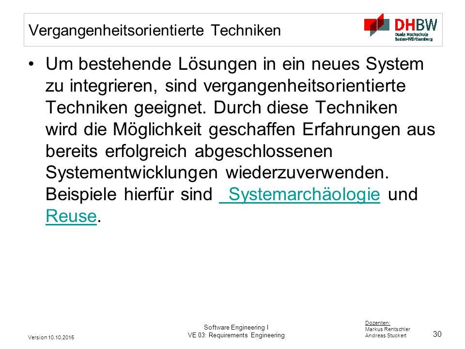 30 Dozenten: Markus Rentschler Andreas Stuckert Version 10.10.2015 Software Engineering I VE 03: Requirements Engineering Vergangenheitsorientierte Te