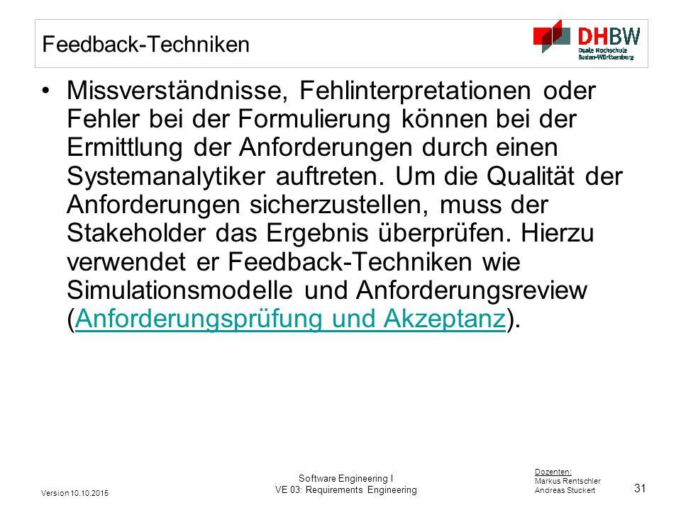 31 Dozenten: Markus Rentschler Andreas Stuckert Version 10.10.2015 Software Engineering I VE 03: Requirements Engineering Feedback-Techniken Missverst