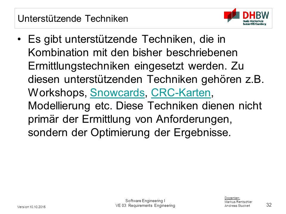 32 Dozenten: Markus Rentschler Andreas Stuckert Version 10.10.2015 Software Engineering I VE 03: Requirements Engineering Unterstützende Techniken Es